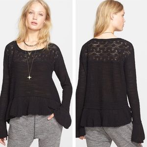 Free People L Black Kristobel Top